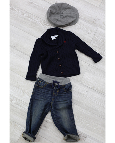 キッズ衣裳 ラルフローレンニットカーディガン+トミーヒルフィガーパンツ(2歳)
