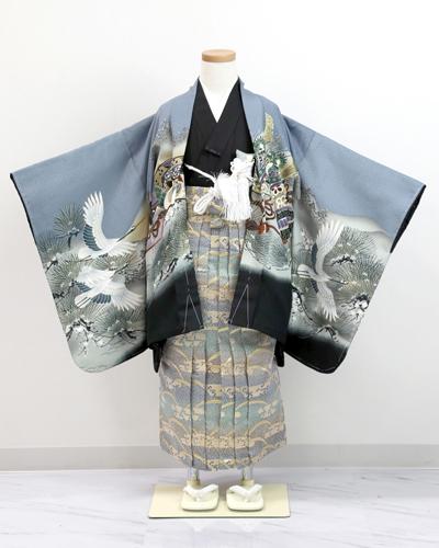 [No.15100012]男児用キッズお着物(AS鷹グレー 袴水色)