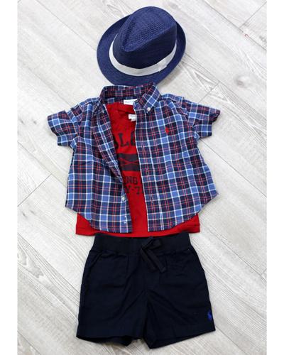 キッズ衣裳 ラルフローレンチェックシャツ+赤T(1歳)