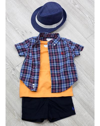 キッズ衣裳 ラルフローレンチェックシャツ+橙T(1歳)