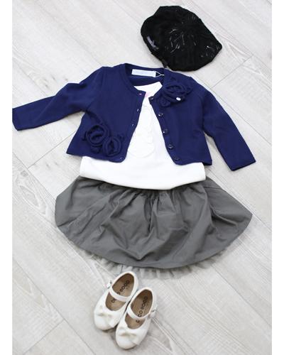 キッズ衣裳 ラルフローレン白ポロシャツ+青カーディガン(1歳)