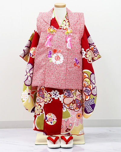 [No.14100006]七五三衣裳用の着物(被布セット しゃれっこ赤)