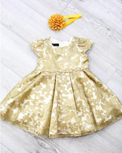 キッズ衣裳 ゴールド刺繍ドレス(2歳)