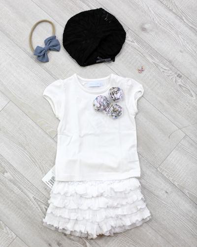 キッズ衣裳 花モチーフT+白フリルスカート(2歳)