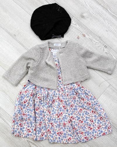 キッズ衣裳 花柄ワンピース+カーディガン(2歳)