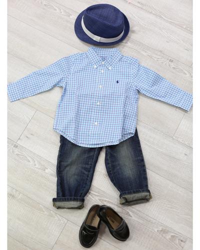 キッズ衣裳 ラルフローレン水色チェックシャツ+トミーヒルフィガーパンツ(2歳)