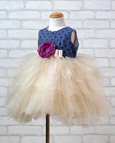 キッズドレス(2歳・ブルーデニム)