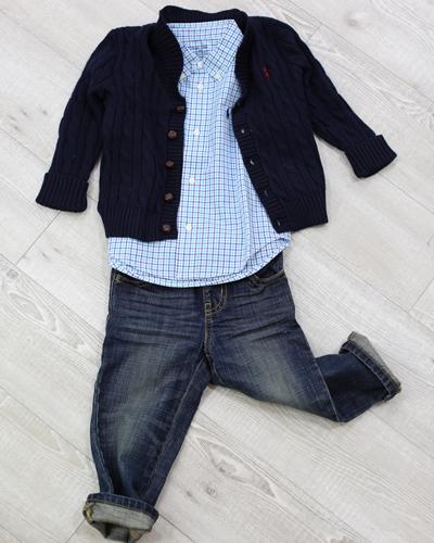 キッズ衣裳 ラルフローレンカーディガン+シャツ+トミーヒルフィガーパンツ(2歳)