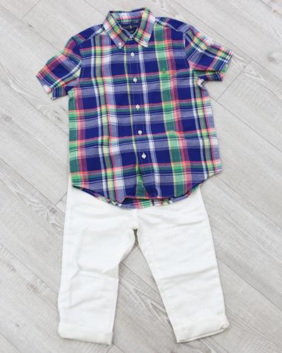 キッズ衣裳 ラルフローレンチェックシャツ+白パンツ(5歳)