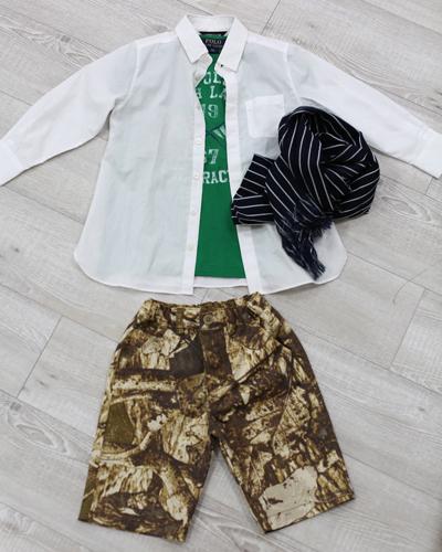 キッズ衣裳 ラルフローレン緑T+コムサイズム白シャツ+柄パンツ(3-4歳)