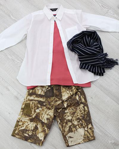 キッズ衣裳 ラルフローレン赤T+コムサイズム白シャツ+柄パンツ(3-4歳)
