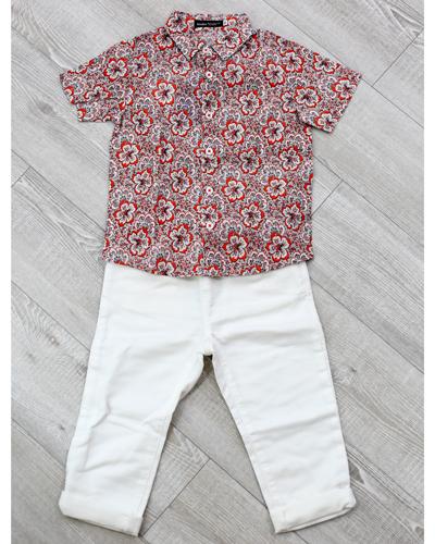 キッズ衣裳 総柄シャツ+白パンツ(3-4歳)