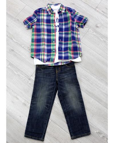 キッズ衣裳 ラルフローレンチェックシャツ+白T+コムサイズムパンツ(5歳)