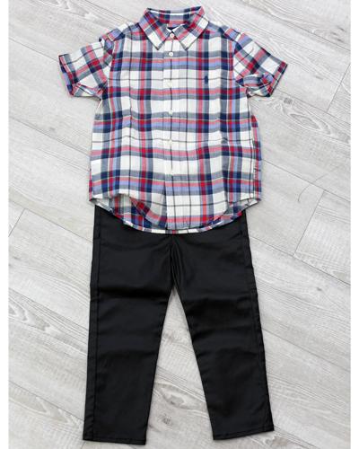 キッズ衣裳 ラルフローレンチェックシャツ+コムサイズムパンツ(3-4歳)