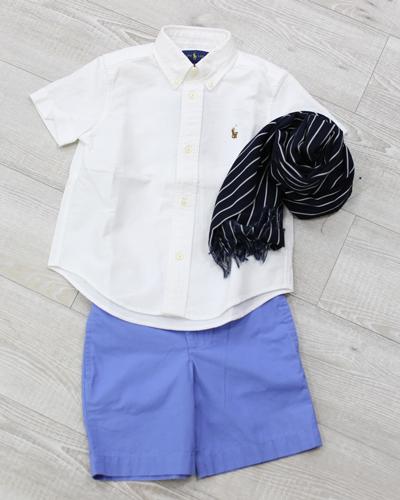 キッズ衣裳 ラルフローレン白シャツ+青パンツ(3-4歳)