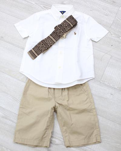 キッズ衣裳 ラルフローレン白シャツ+白パンツ(3-4歳)