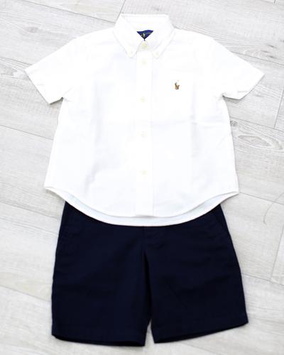 キッズ衣裳 ラルフローレン白シャツ+ネイビーパンツ(3-4歳)