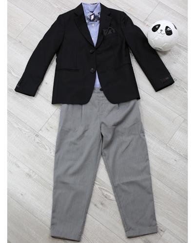 キッズ衣裳 ラルフローレン水色シャツ+ジャケット+グレーパンツ(8-9歳)