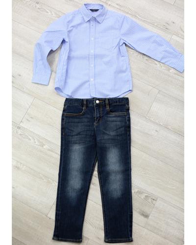 キッズ衣裳 コムサイズムチェックシャツ+デニムパンツ(6-7歳)