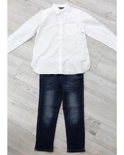 キッズ衣裳 コムサイズム白シャツ+デニムパンツ(6-7歳)