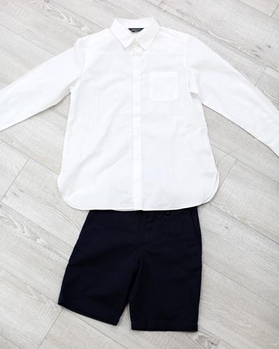 キッズ衣裳 コムサイズム白シャツ+ラルフローレンネイビーパンツ(3-4歳)