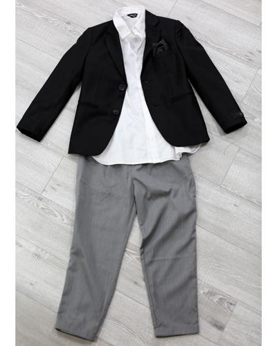 キッズ衣裳 コムサイズム白シャツ+ジャケット+グレーパンツ(8-9歳)
