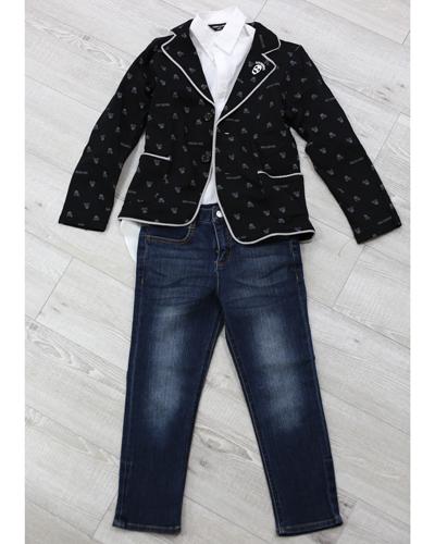 キッズ衣裳 コムサイズム白シャツ+デニムパンツ+ジャケット(8-9歳)