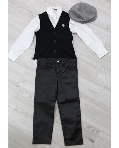 キッズ衣裳 コムサイズム白シャツ+パンツ+ベスト(8-9歳)
