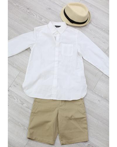 キッズ衣裳 コムサイズム白シャツ+ラルフローレンベージュパンツ(8-9歳)