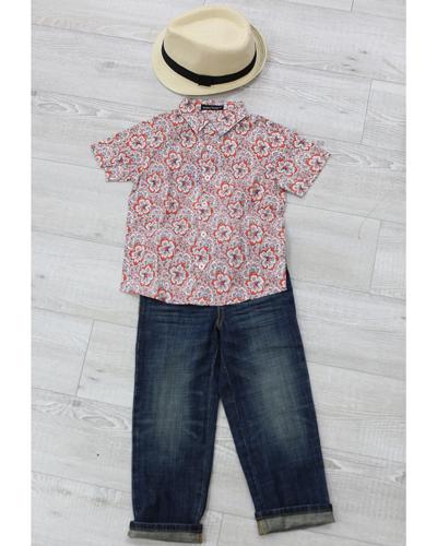 キッズ衣裳 トミーヒルフィガーパンツ+総柄シャツ(3-4歳)