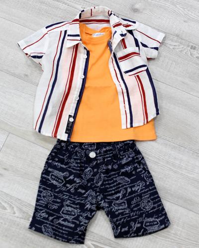 キッズ衣裳 ストライプシャツ+ラルフローレン橙T(1歳)
