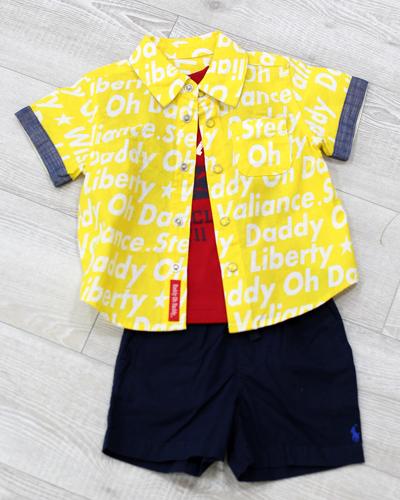 キッズ衣裳 ラルフローレン赤T+ネイビーパンツ+黄色シャツ(2歳)