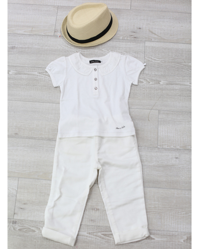 キッズ衣裳 白シャツ+白パンツ(3-4歳)