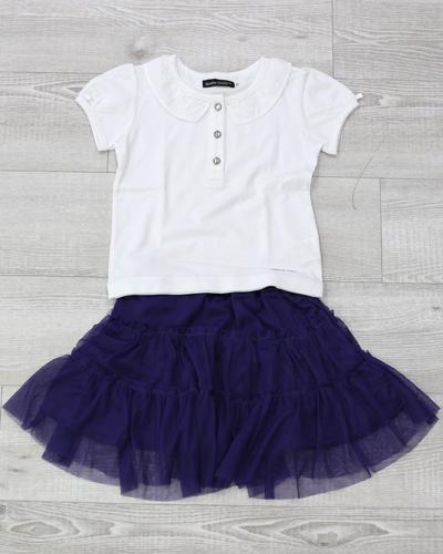 キッズ衣裳 白シャツ+ネイビースカート(3-4歳)