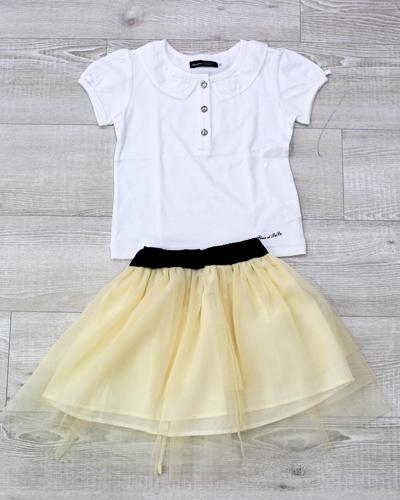 キッズ衣裳 白シャツ+シフォンスカート(3-4歳)