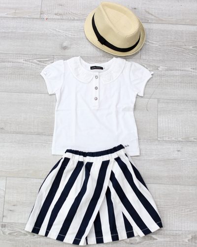 キッズ衣裳 白シャツ+ストライプスカート(3-4歳)