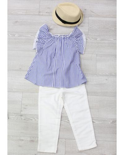 キッズ衣裳 ストライプトップス+白パンツ(5歳)