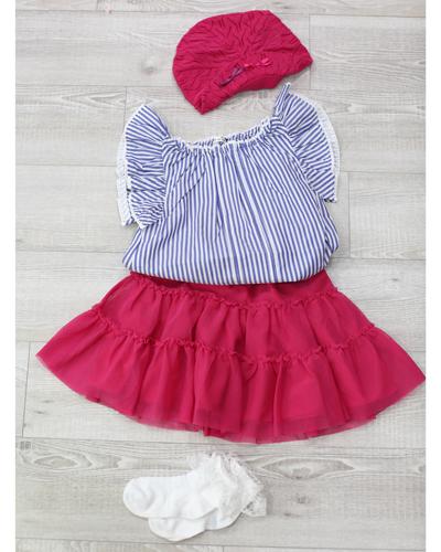 キッズ衣裳 ストライプトップス+ピンクスカート(5歳)