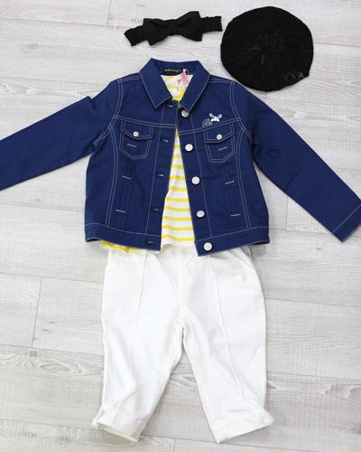 キッズ衣裳 Gジャン+黄色ボーダーT+リボン白パンツ(6-7歳)