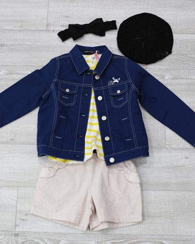 キッズ衣裳 Gジャン+黄色ボーダーT+ハーフパンツ(6-7歳)