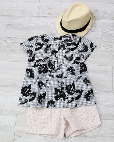 キッズ衣裳 グレーチェックシャツ+ハーフパンツ(6-7歳)