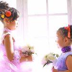 7歳と3歳の女の子、姉妹仲良く着物とドレスで、キュートに撮影いたしました